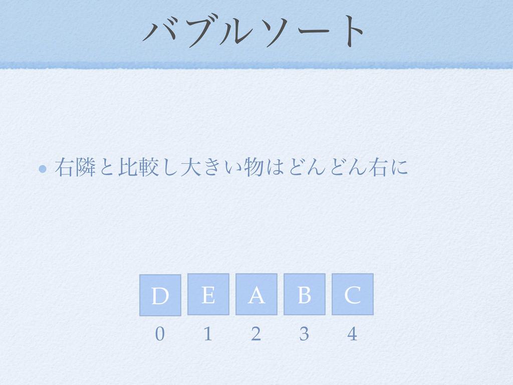 όϒϧιʔτ ӈྡͱൺֱ͠େ͖͍ͲΜͲΜӈʹ D E A C B 0 1 2 3 4