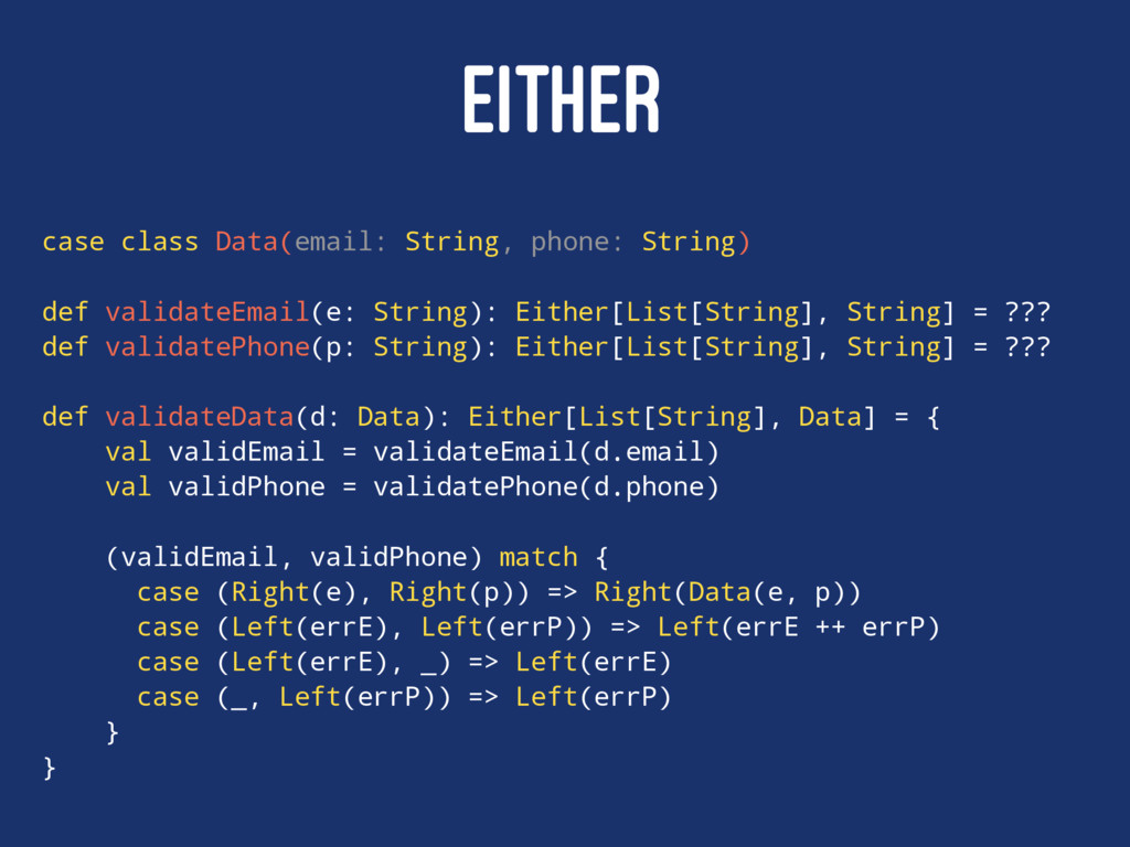 EITHER case class Data(email: String, phone: St...