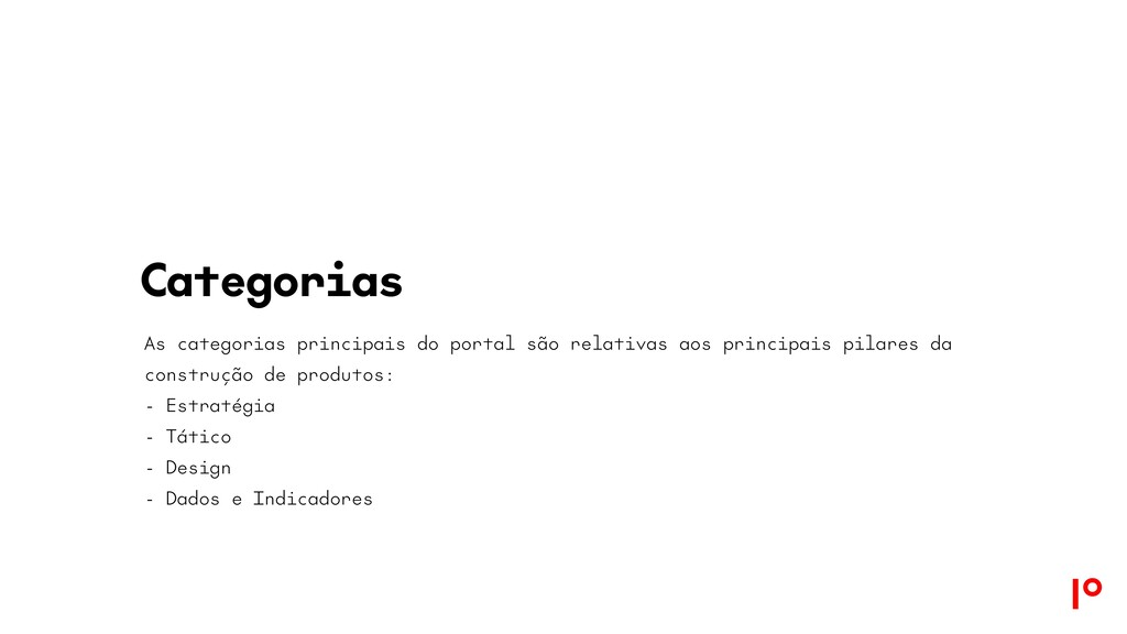 Categorias As categorias principais do portal s...