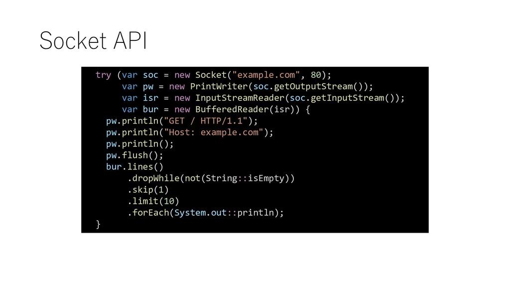 "Socket API try (var soc = new Socket(""example.c..."