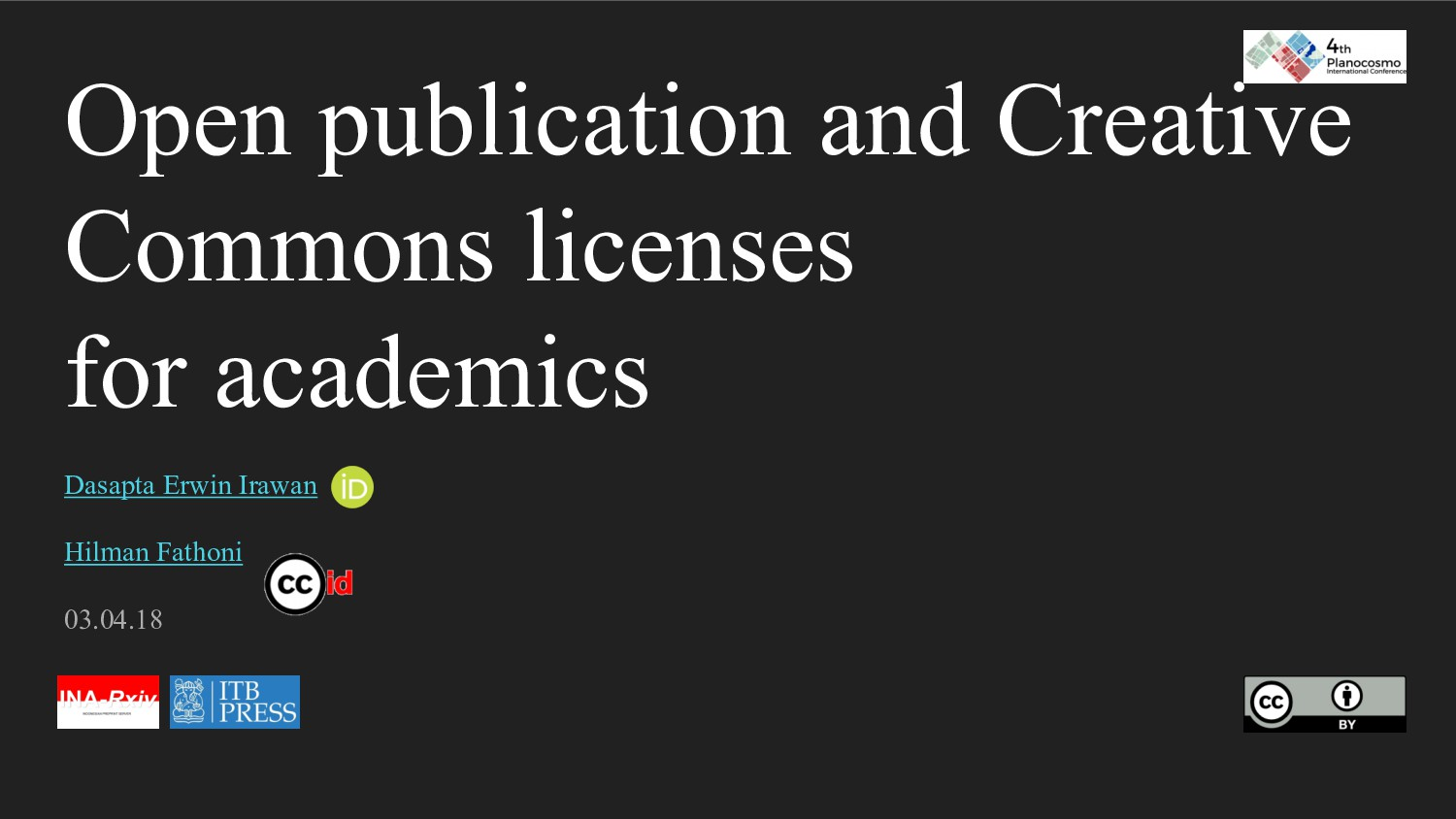 Open publication and Creative Commons licenses ...