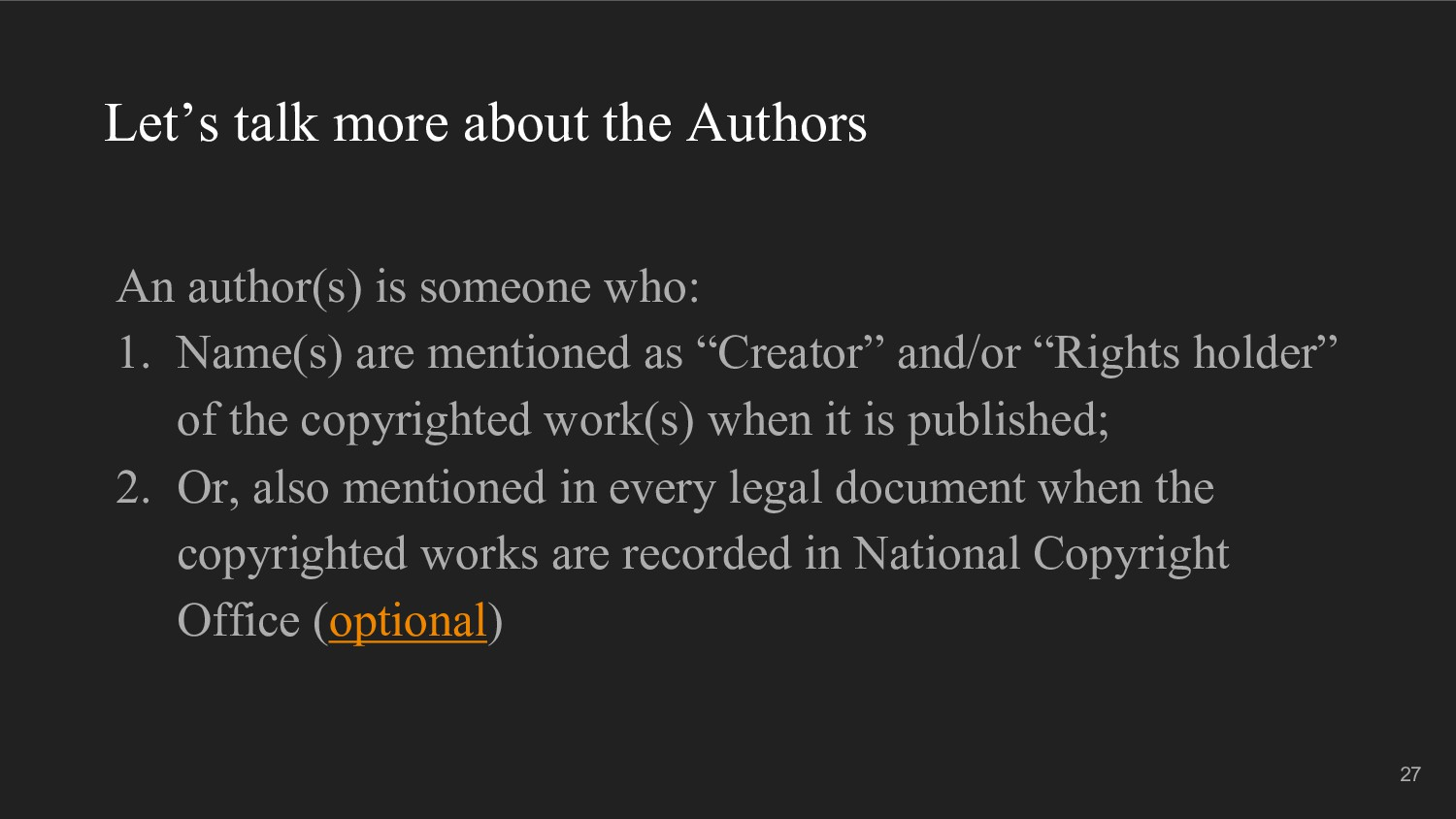 Let's talk more about the Authors An author(s) ...