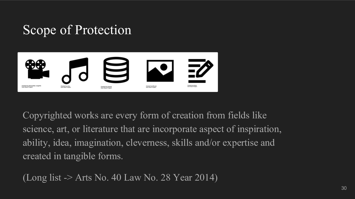Scope of Protection Copyrighted works are every...