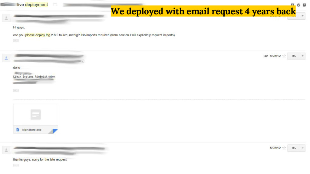 We deployed with email request 4 years back