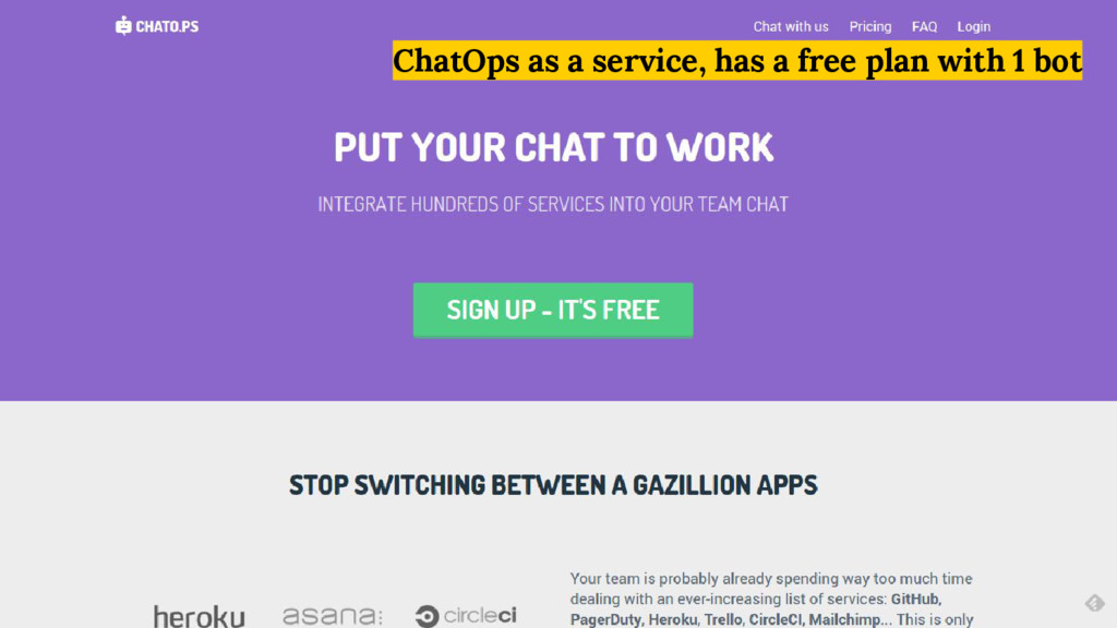 ChatOps as a service, has a free plan with 1 bot