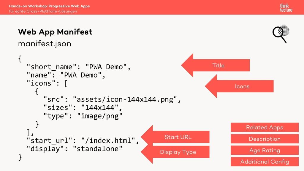 "manifest.json { ""short_name"": ""PWA Demo"", ""name..."