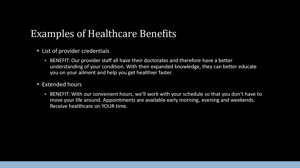  List of provider credentials  BENEFIT: Our p...