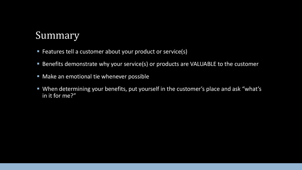  Features tell a customer about your product o...