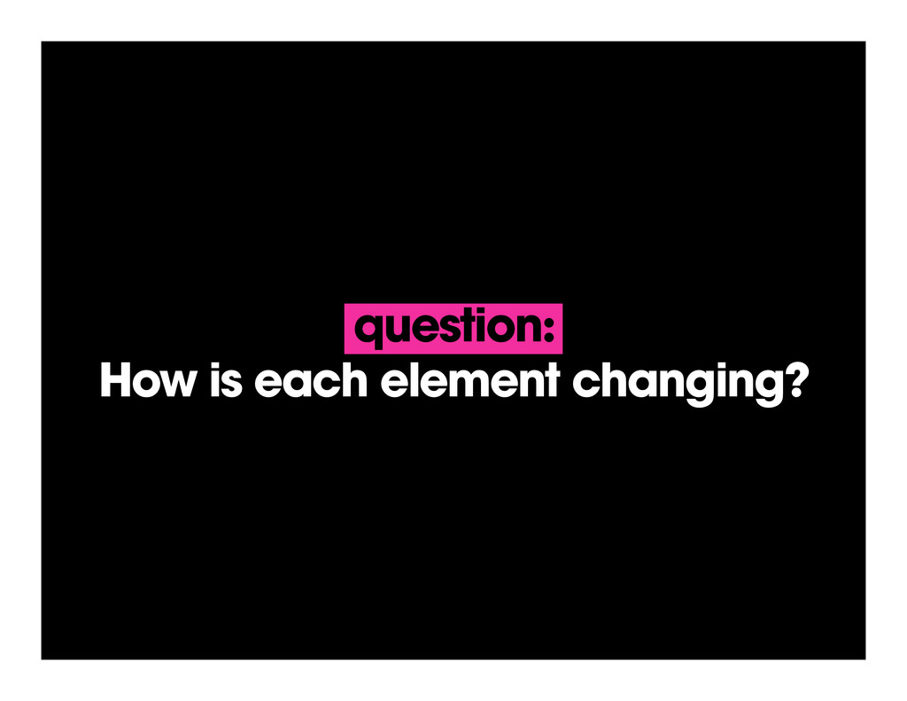 question: How is each element changing?