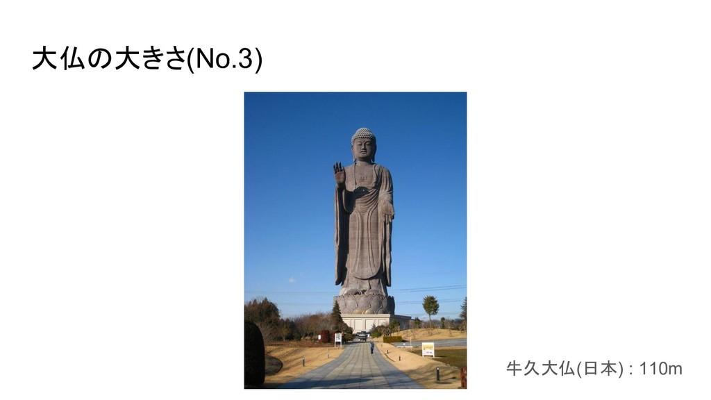 大仏の大きさ(No.3) 牛久大仏(日本) : 110m