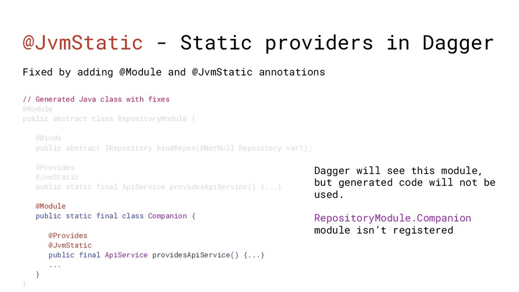 @JvmStatic - Static providers in Dagger Fixed b...