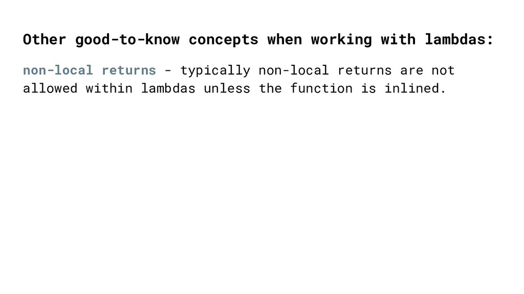 non-local returns - typically non-local returns...