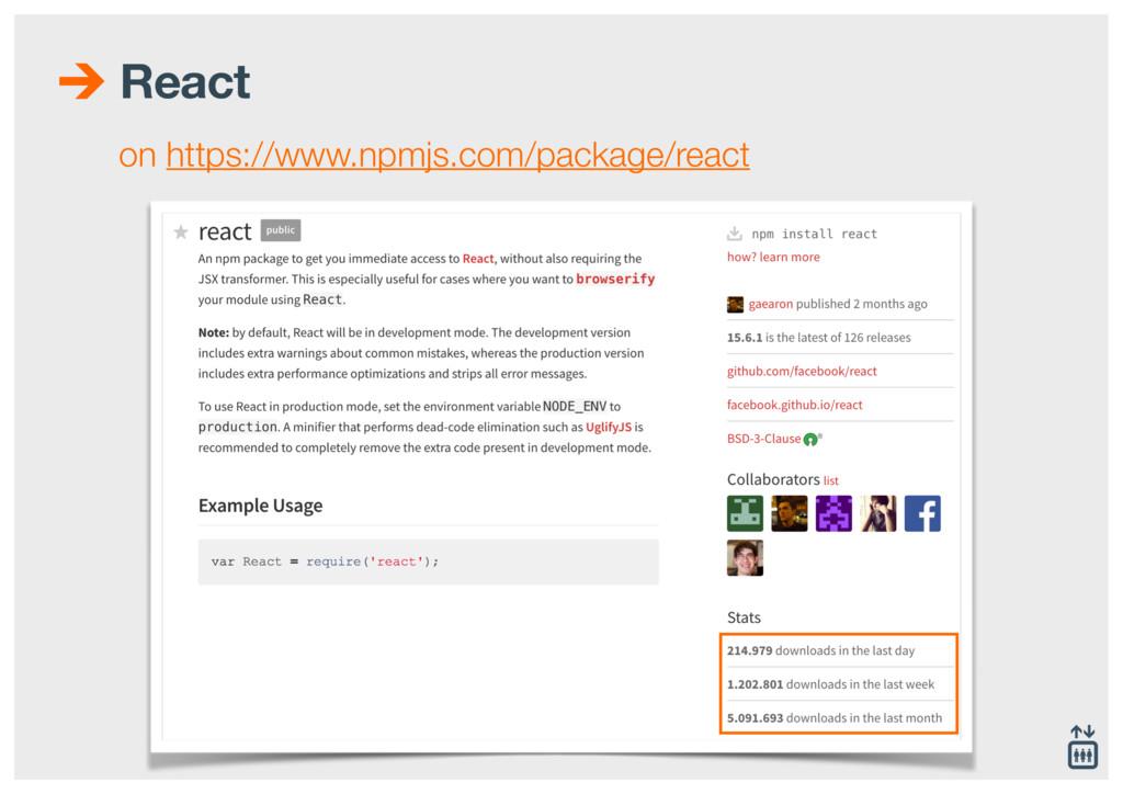 React on https://www.npmjs.com/package/react