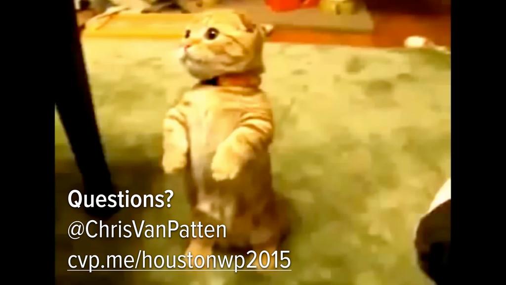Questions? @ChrisVanPatten cvp.me/houstonwp2015