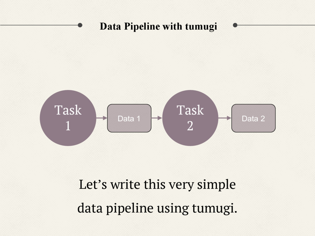 Data Pipeline with tumugi Task 1 Data 1 Task 2 ...