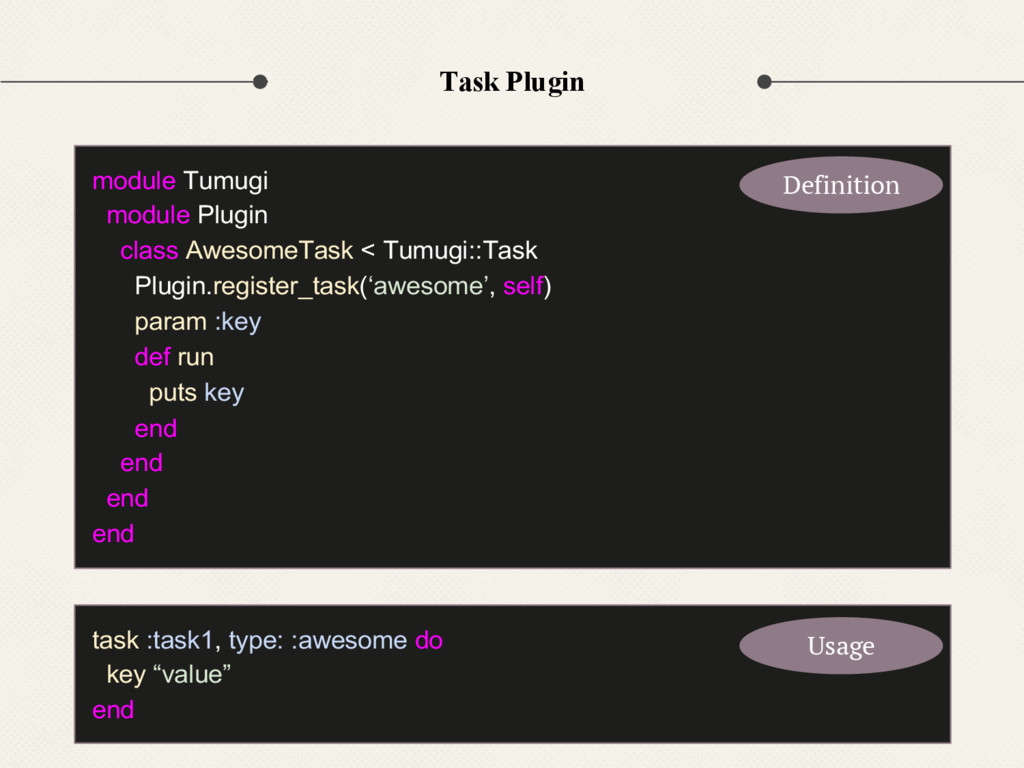 Task Plugin task :task1, type: :awesome do key ...