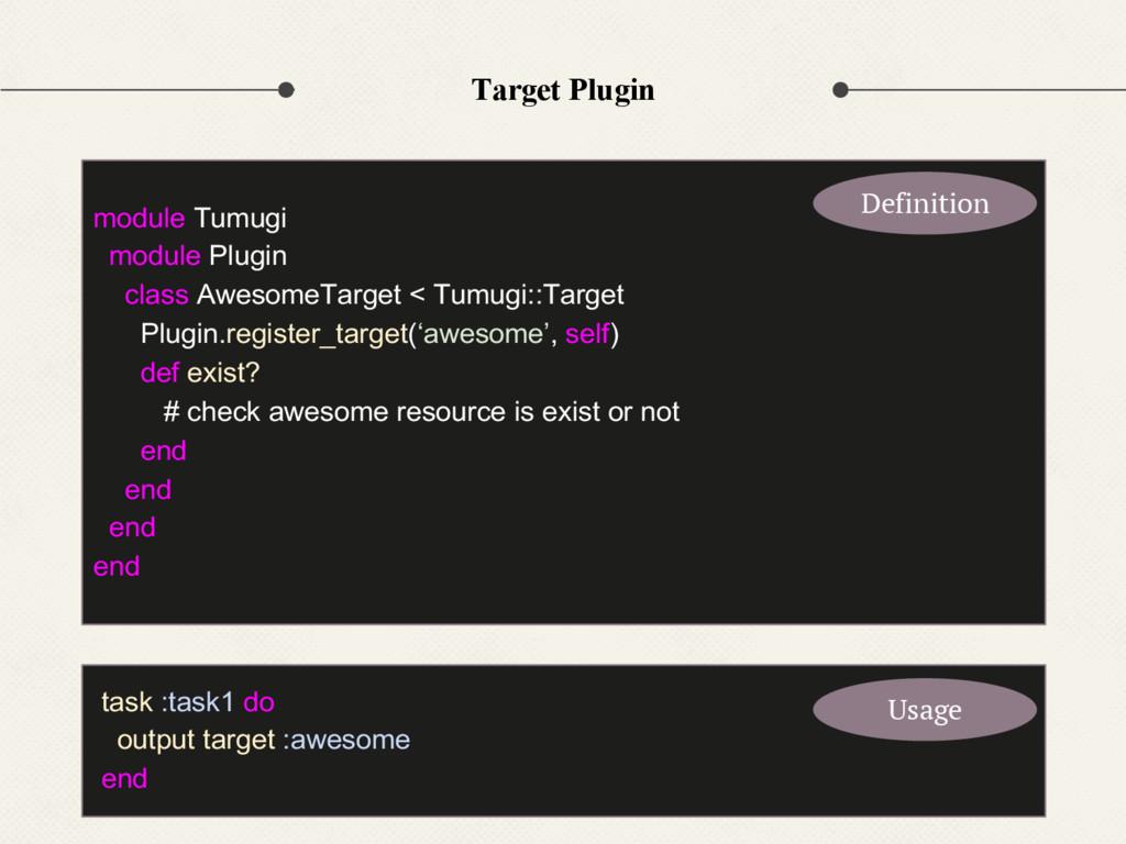 Target Plugin module Tumugi module Plugin class...