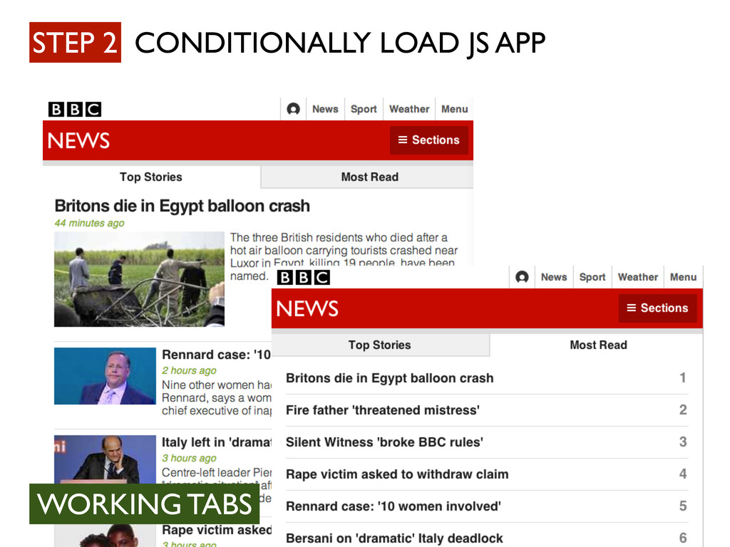 STEP 2 CONDITIONALLY LOAD JS APP WORKING TABS