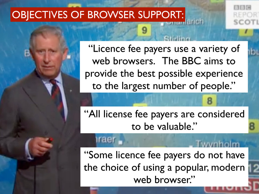"OBJECTIVES OF BROWSER SUPPORT: ""Licence fee pay..."