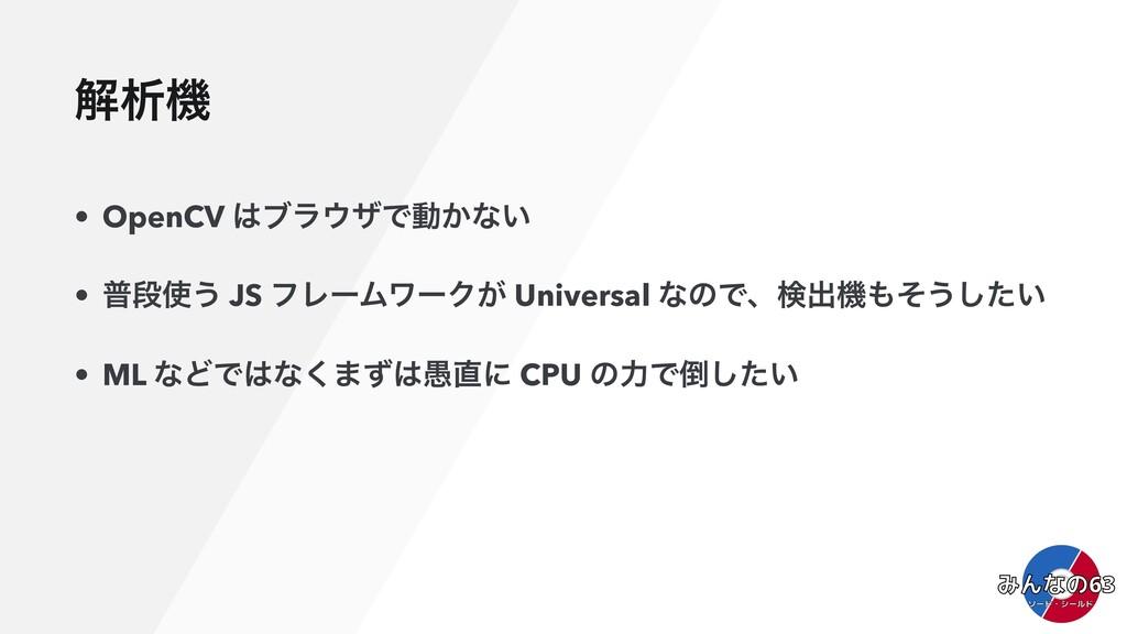 ղੳػ • OpenCV ϒϥβͰಈ͔ͳ͍ • ීஈ͏ JS ϑϨʔϜϫʔΫ͕ Univ...