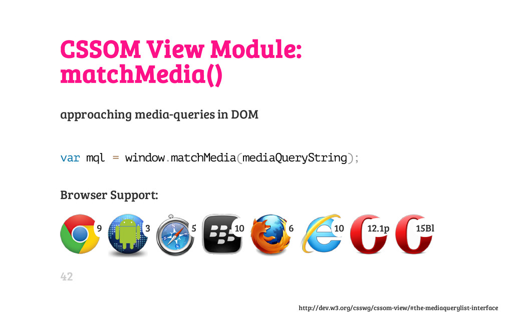 CSSOM View Module: matchMedia() approaching med...