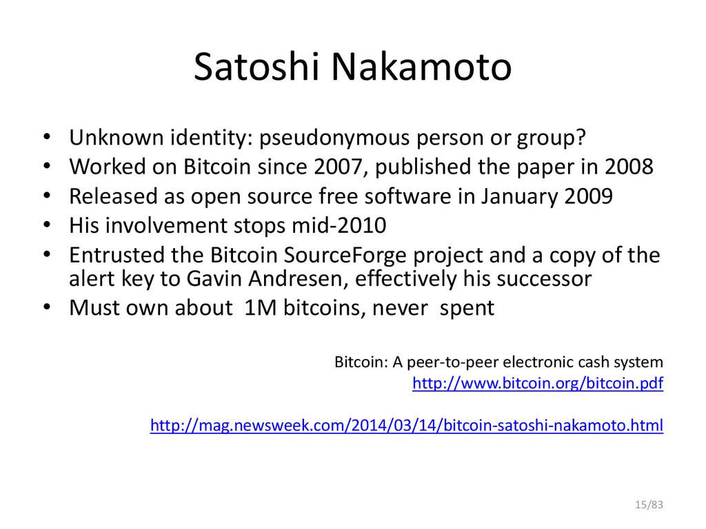 Satoshi Nakamoto • Unknown identity: pseudonymo...