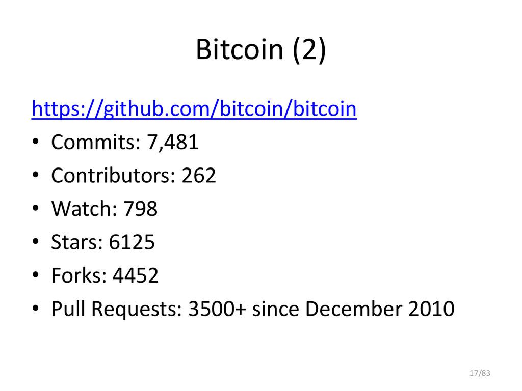 Bitcoin (2) https://github.com/bitcoin/bitcoin ...
