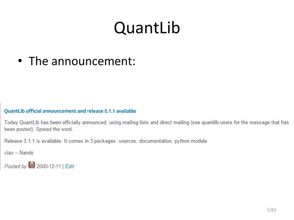 QuantLib • The announcement: 5/83