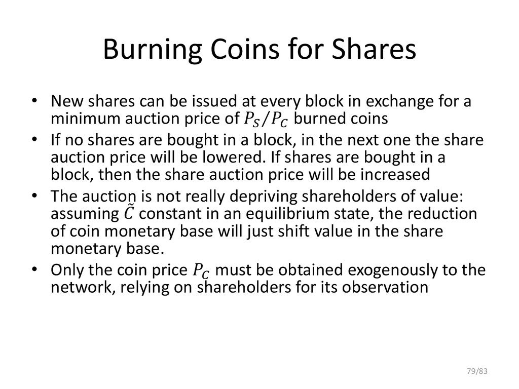 Burning Coins for Shares • New shares can be is...