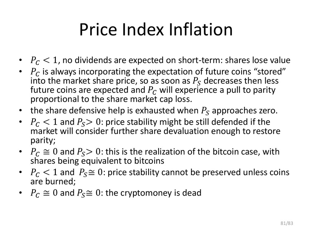 Price Index Inflation •  < 1, no dividends are ...