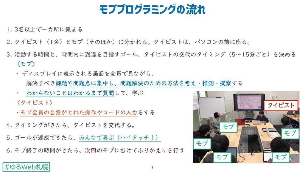 #ゆるWeb札幌 1. 3名以上で一カ所に集まる 2. タイピスト(1名)とモブ(そのほか)に...