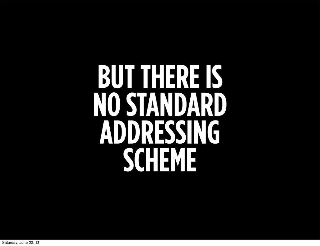 BUT THERE IS NO STANDARD ADDRESSING SCHEME Satu...