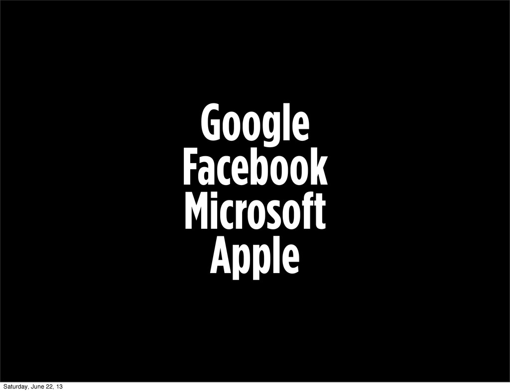 Google Facebook Microsoft Apple Saturday, June ...