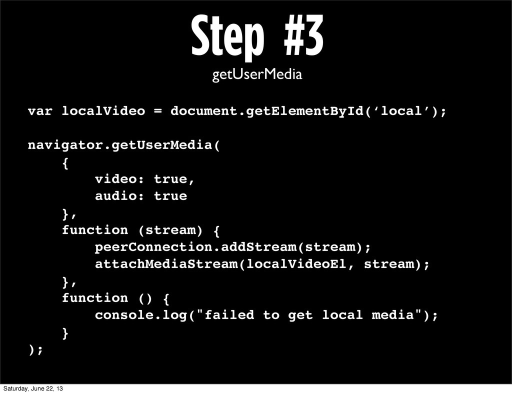 Step #3 getUserMedia var localVideo = document....