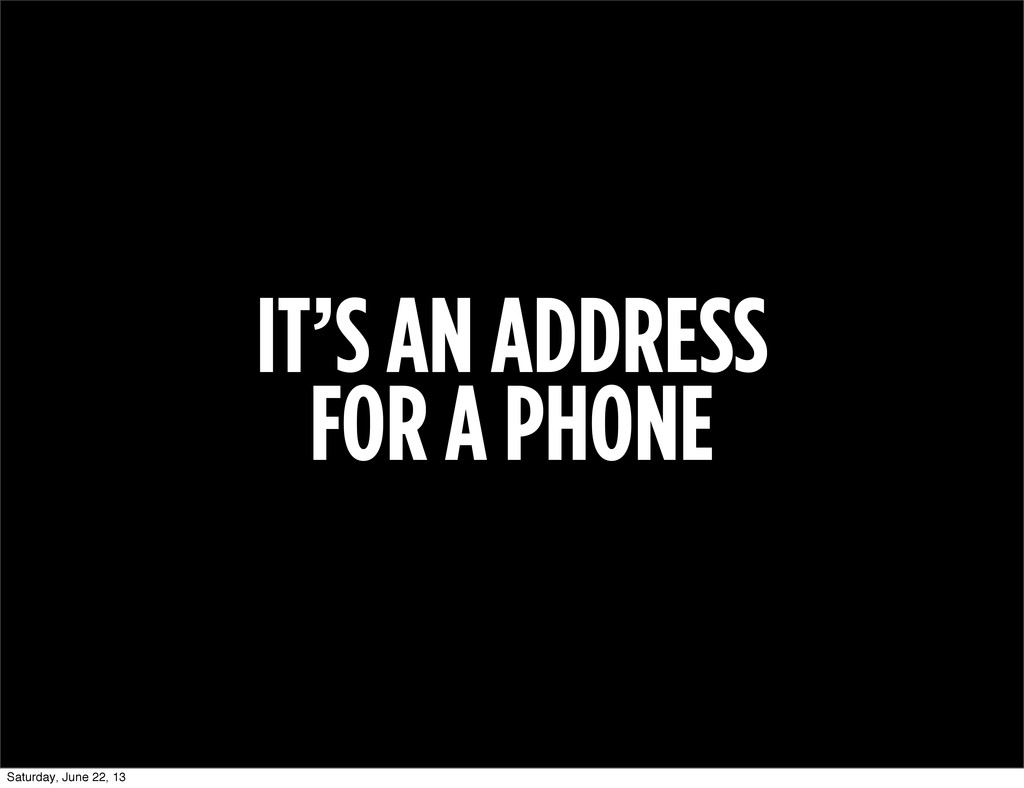 IT'S AN ADDRESS FOR A PHONE Saturday, June 22, ...