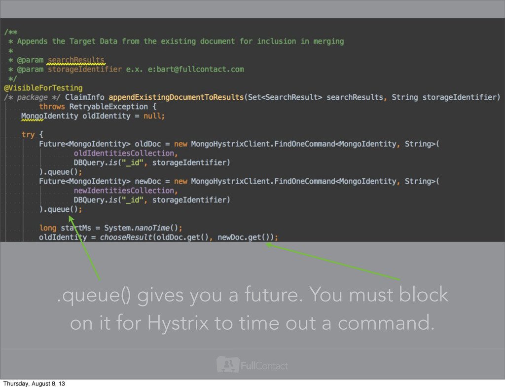 .queue() gives you a future. You must block on ...