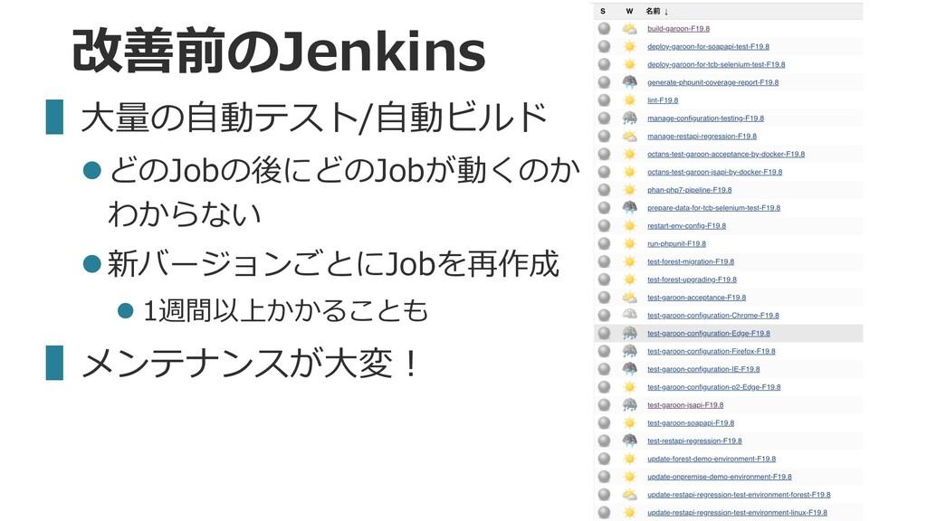 改善前のJenkins ▌⼤量の⾃動テスト/⾃動ビルド lどのJobの後にどのJobが動くのか...