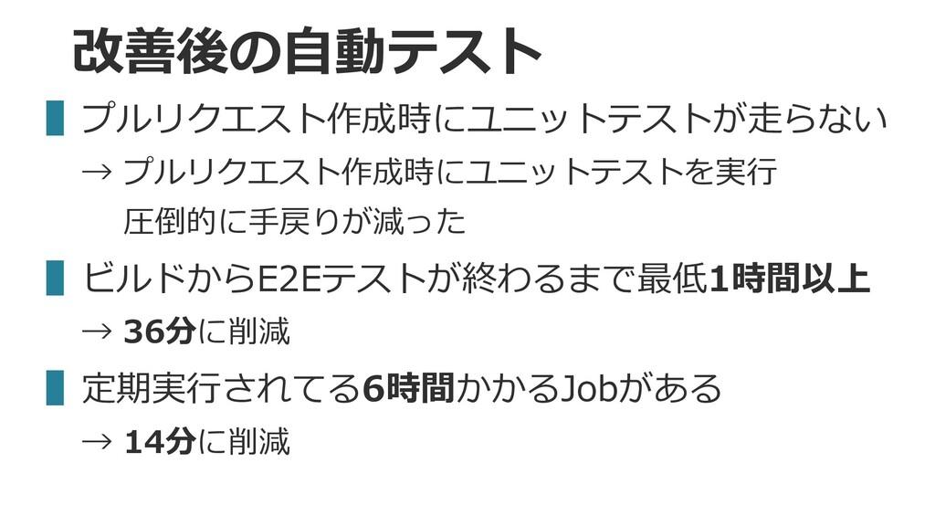 改善後の⾃動テスト ▌プルリクエスト作成時にユニットテストが⾛らない → プルリクエスト作成時...