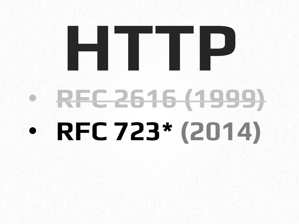 HTTP! • RFC 2616 (1999)! • RFC 723* (2014)!