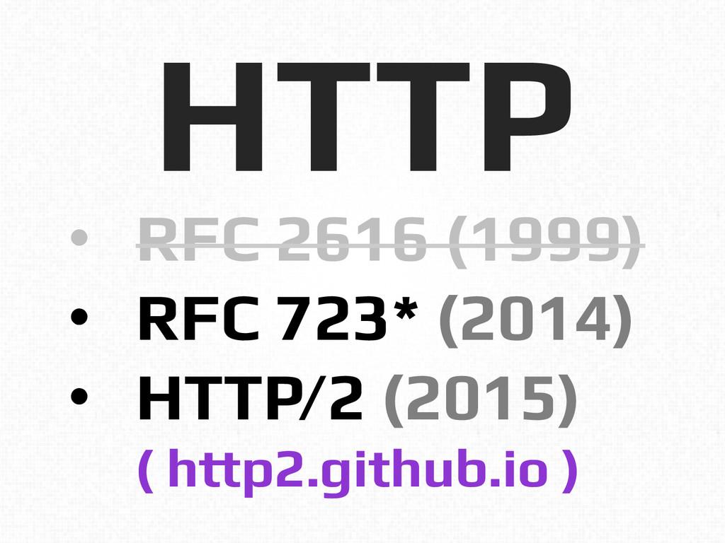 HTTP! • RFC 2616 (1999)! • RFC 723* (2014)! •...