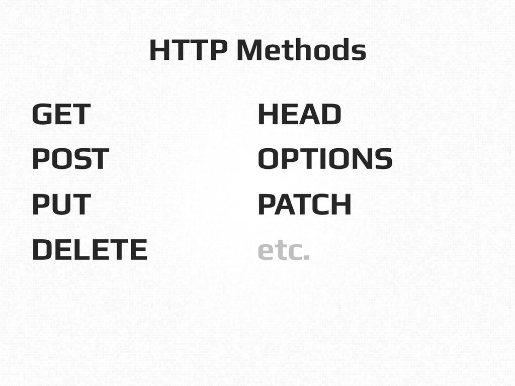 HTTP Methods! GET! POST! PUT! DELETE! ! HEAD! O...