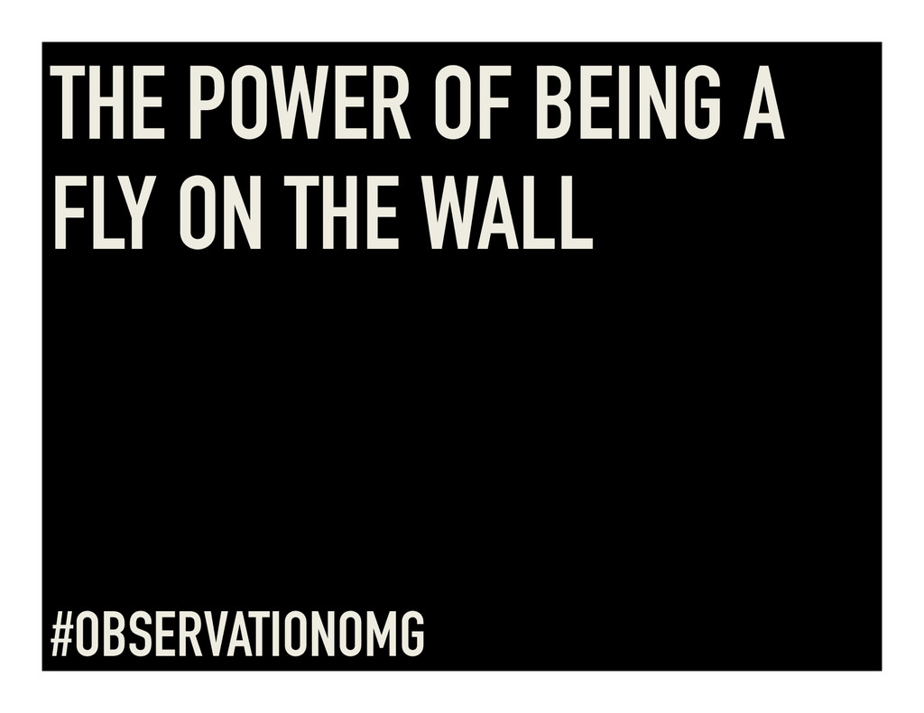 THE POWER OF BEING A FLY ON THE WALL #OBSERVATI...