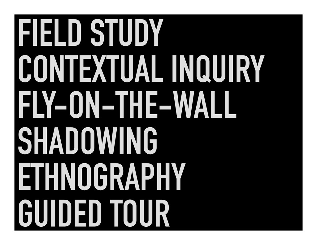 FIELD STUDY CONTEXTUAL INQUIRY FLY-ON-THE-WALL ...
