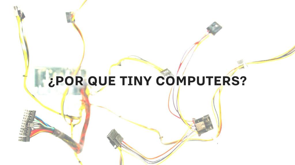 ¿POR QUE TINY COMPUTERS? ¿POR QUE TINY COMPUTER...