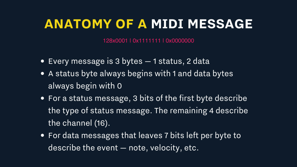 ANATOMY OF A MIDI MESSAGE 128x0001 | 0x1111111 ...