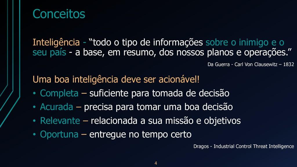"""Conceitos Inteligência - """"todo o tipo de inform..."""