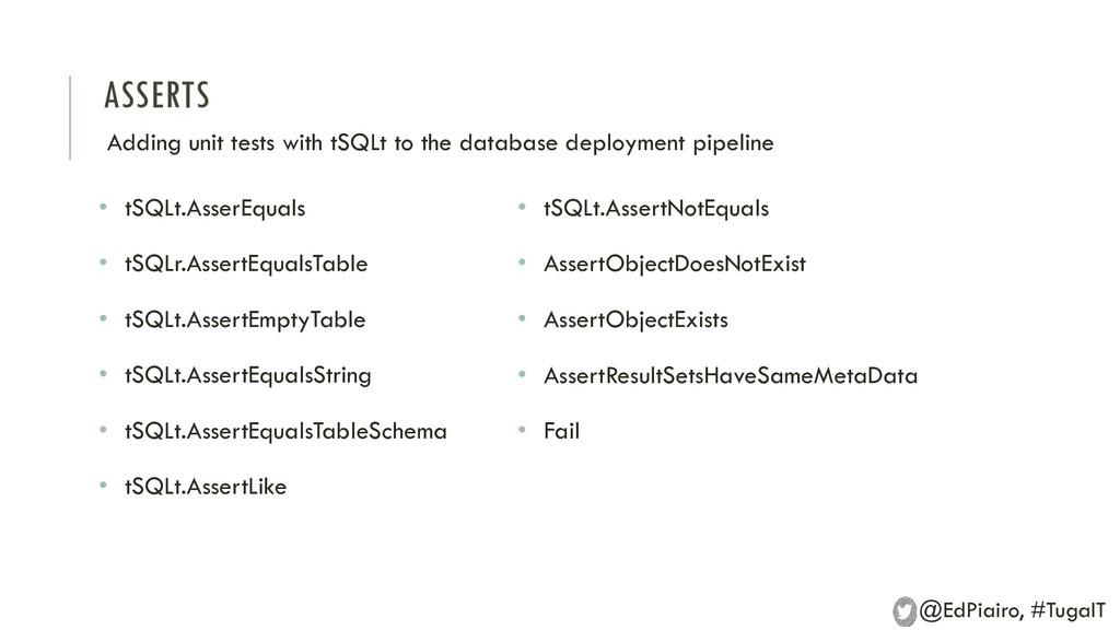 ASSERTS Adding unit tests with tSQLt to the dat...