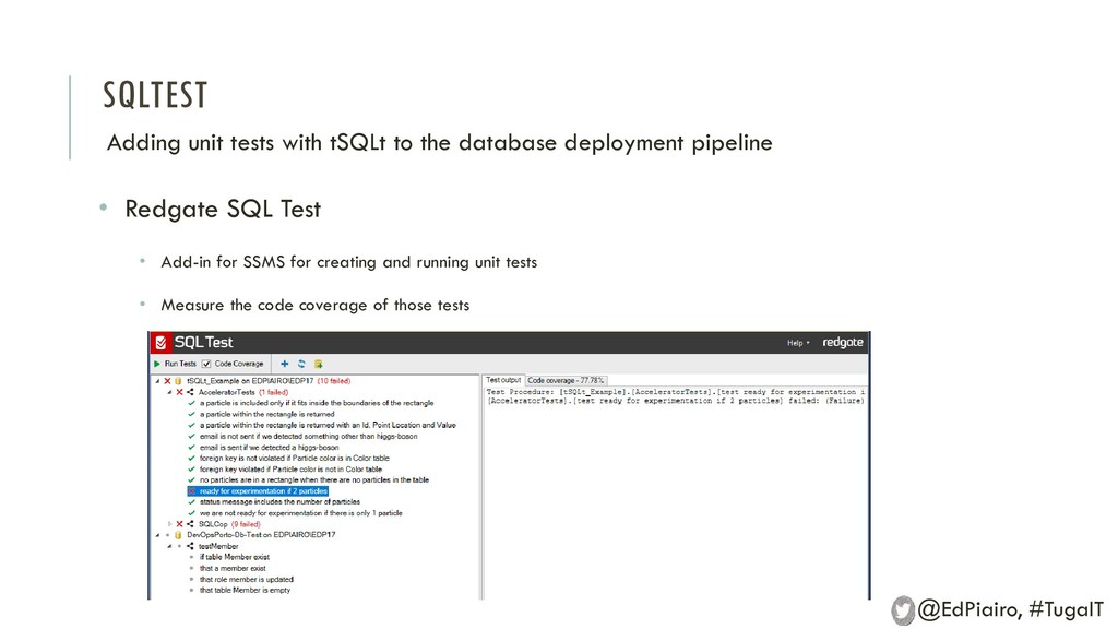SQLTEST Adding unit tests with tSQLt to the dat...