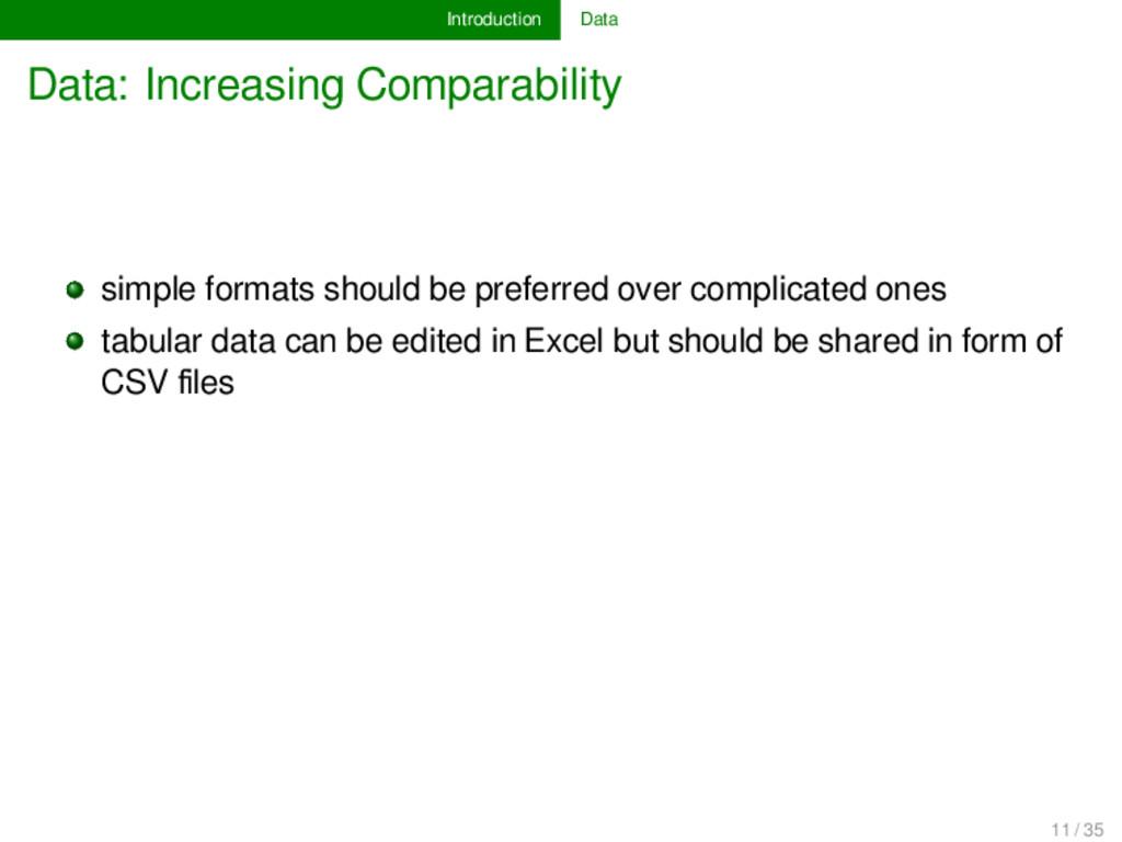 Introduction Data Data: Increasing Comparabilit...