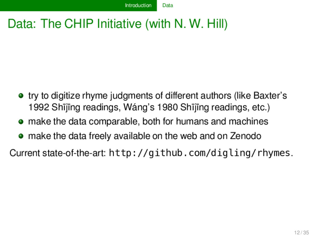 Introduction Data Data: The CHIP Initiative (wi...